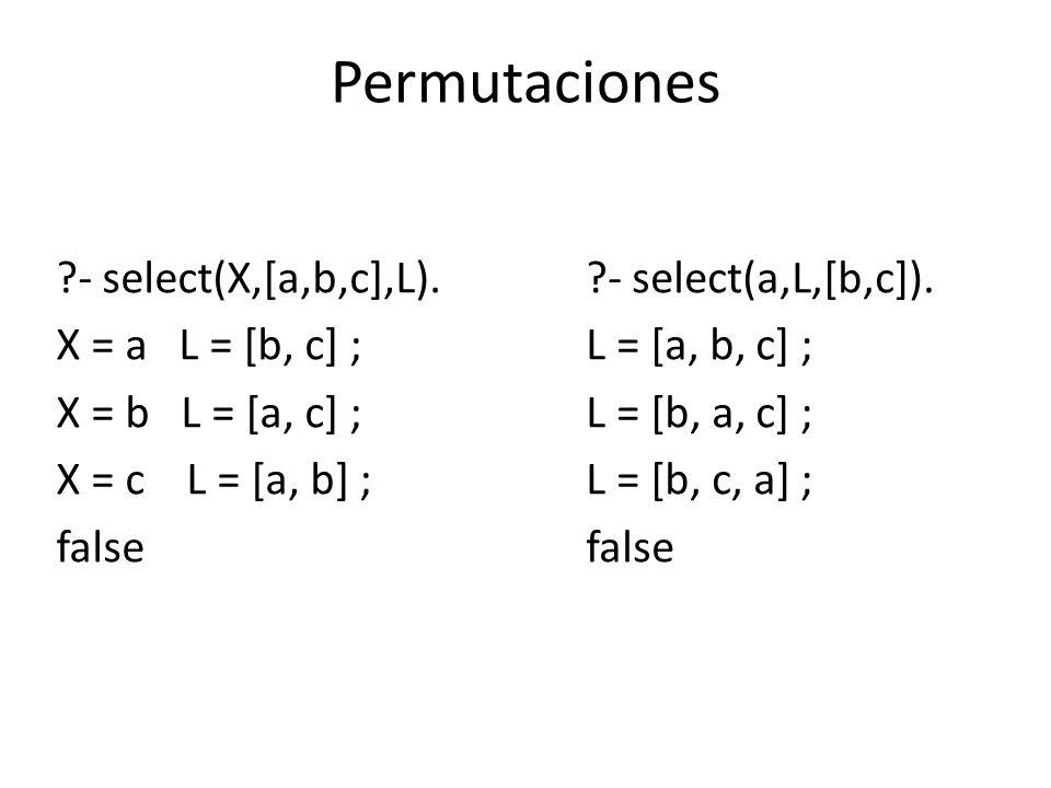 Permutaciones - select(X,[a,b,c],L). X = a L = [b, c] ;